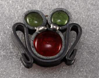 Vintage Pewter With Green and Red Glass Frog Pendant Charm OOAK