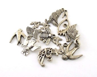 Charms 13 Antique Silver Bird Variety