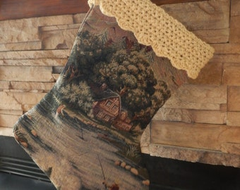 "FINAL MARKDOWN Clearance - 22"" Handmade Log cabin/fishing Christmas Stocking with 100% Handspun wool cuff"