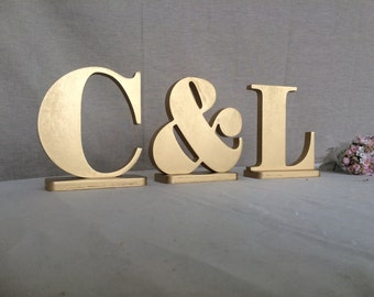 Wooden Letters Set Of Three   Two Letters And One U0026. INITIALS Custom Signs  Wedding