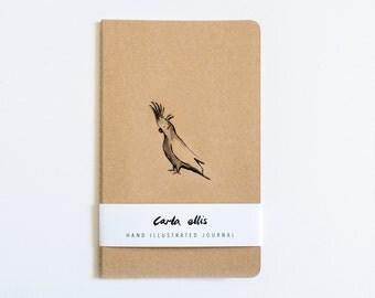 Moleskine Journal: Cockatoo, Hand Illustrated - Blank or Lined