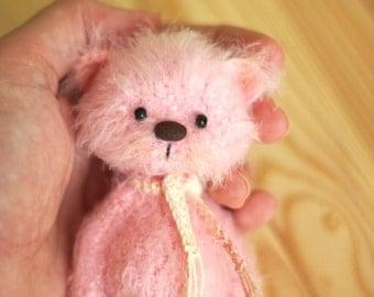 4 inches miniature Teddy bear Blythe friend handmade artist toy crochet teddy bear  gift for her animals artist teddy Ooak bear Blythe toy