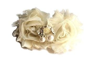 Bridal Hair Barrette - Ivory Flower French Barrette for Women - Vintage Style Barrette - Cream Flower Hair Clip for Women -Wedding Accessory