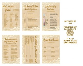 Burlap and Lace Bridal Shower Game, Rustic Lace Bridal Shower Game, Burlap and Lace Bridal Shower, Burlap Lace Printable - Printables 4 Less
