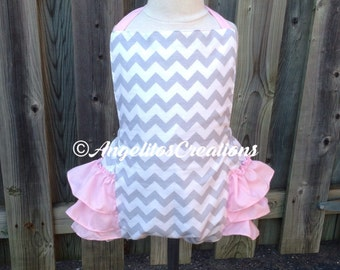 Baby girl toddler romper, ruffle bum romper, 12-18 mo, READY TO SHIP, playsuit, sunsuit, smash cake outfit, grey and pink, photo prop