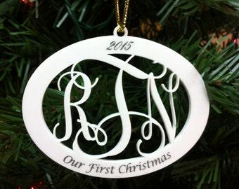 3 Letter Monogram Christmas Ornament