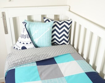Patchwork quilt - Aqua's, navy and grey with a touch of herringbone (grey minky quilt backing)