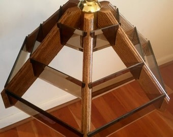 Vintage Mid Century Modern Pendant Light Chandelier Wood and Beveled Glass NOS