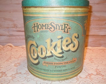 Vintage Cookie Canister, Tin Cookie Canister, Green Canister, Farmhouse Kitchen, Homestyle Brand Canister, Cottage Chic Canister, Retro
