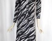 1960's OP ART West German made B&W pixelated wave dress/ stretch nylon: vintage size 12= US size 6-8 bodycon