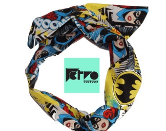 Batgirl Comic Rockabilly Pin up Headband