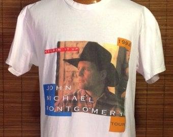 "Vintage 1994 Large John Michael Montgomery ""Kickin' It Up"" Souvenier Concert Tour T-shirt. White Nice Man brand shirt, 100% cotton, Made in"