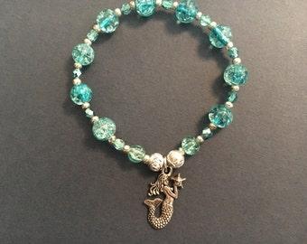Mermaid Aqua Glass Beaded Stretch Bracelet 6.5 to 7 Inches