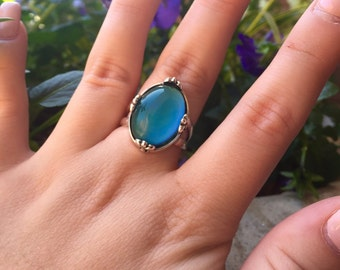 Sterling Silver Mood Color Changing Ring 18x13mm Size 7