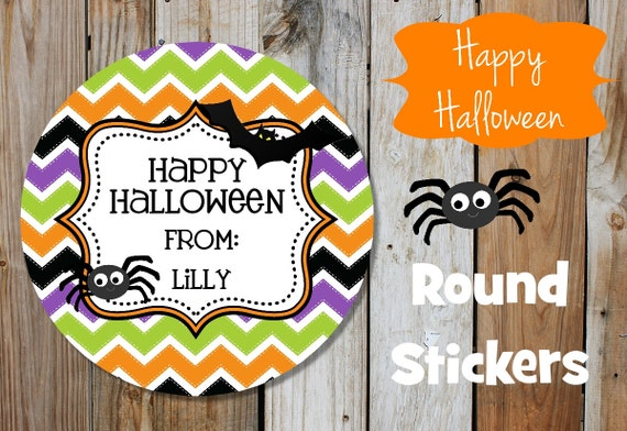 Halloween Stickers - Spider - Bat - Set of 12 - Round Labels - Personalized Labels - Chevron Stickers - Orange, Green, Black, Tags, Stickers