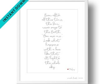 Printable Black and White Script Hafiz Quote Art Print | Instant Download | Valentine's Day