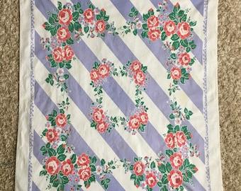 Vintage Purple Tablecloth w/ Pink Flowers