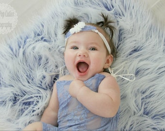 Frosted Blue MOngolian Faux Fur Prop, Newborn Photo Prop, Bakset Filler, Posing Fabric, READY TO SHIP.