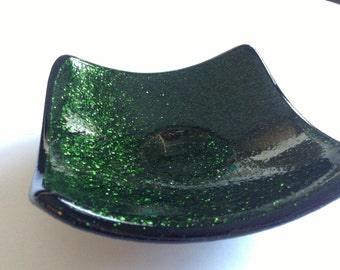 Sparkly Green Fused Glass Trinket Dish
