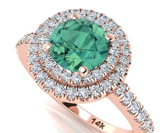 Diamond Engagement Ring, Double Halo Diamond Ring, Green Natural Sapphire Diamond Ring, Wedding Ring, Round Diamond Halo Ring