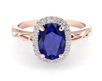 Blue Sapphire Engagement Ring, Pink Gold Engagement Diamond Ring, Oval Diamond Wedding Ring, Vine And Leaf Diamond Engagement Ring
