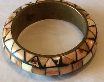 Plastic Mosaic Style Over Metal Base Bangle Bracelet in Earth Tones