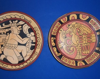 MAYAN AZTEC PLATES Design Terracotta Peru Signed W. F. Pair Set Clay Pottery Rain God Warrior Native Folk Art South American Vintage Mexico
