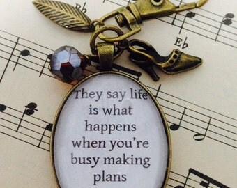 Carrie Bradshaw Quote Keyring/Bag Charm, Vintage Style