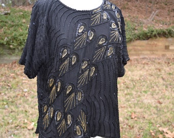Vintage 1980s black sequined beaded tunic top