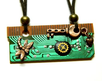 Copper key, heart, dragonfly, green circuit board cyberpunk, steampunk, techie statement jewelry, motherboard, unique gift for computer fan