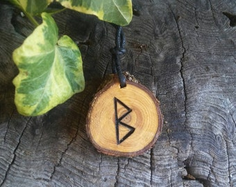 Rune Necklace - Wood Rune Necklace - Fertility Necklace - Rune Jewelry - Fertility Jewelry