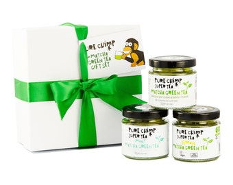 Matcha Green Tea Gift Set/Box By PureChimp - Lemon/Mint/Regular Flavoured Super Tea - 3 x 50g (1.76oz) Jars