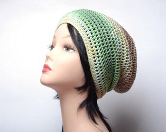 Beach crochet Hat green Summer Crochet Hat summer trend crochet skullcap summer beanie Handmade hat Women Slouchy Crochet Hat Summer hat