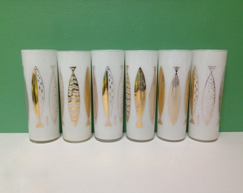 Vintage Fred Press Atomic Fish High Ball Drinking Glasses Set of Six Mid Century Modern