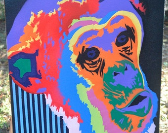 Bamboozled - Colorful Monkey - Graffiti Art - Spray Paint - Canvas