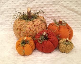 Thanksgiving Batch Fabric Pumpkins, set of 5