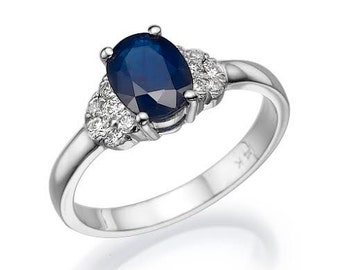Blue Sapphire Diamond Engagement Ring -White Gold Ring-Sapphire  Engagement Ring -Anniversary present-promised ring-blue stone-Sapphire ring