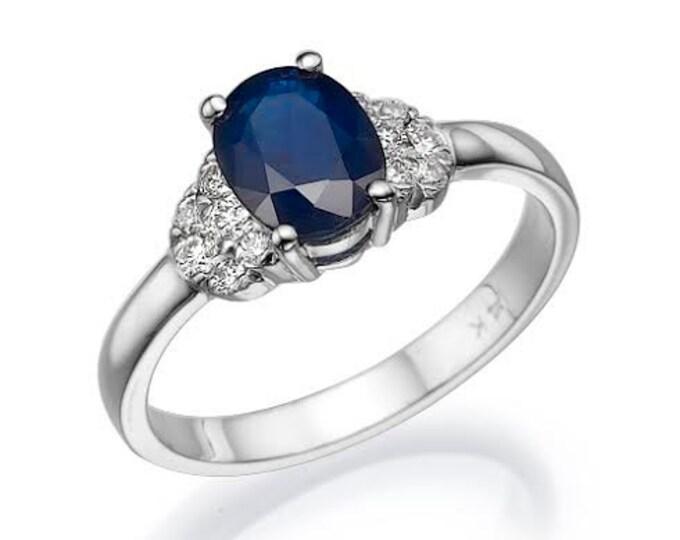 Blue Sapphire Diamond Engagement Ring -White Gold Ring-1 carat Sapphire  Engagement Ring -Anniversary present-Promised ring-For her