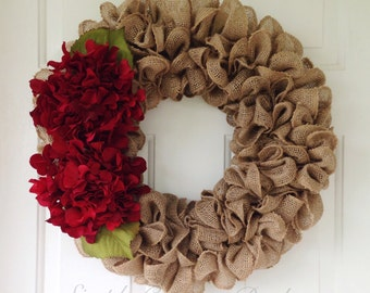 Rustic vintage country shabby chic Wedding burlap wreath accented with red hydrangeas