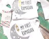 My first ramadan onesie, Bodysuit for children, Ramadan gift, white long sleeves