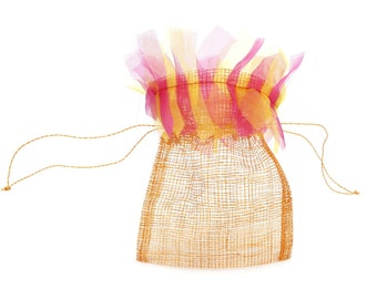 Natural Sinamay Mesh Pouches for Wedding/Party Favors (Pack of 12) Orange w/ Hot Pink & Yellow Frizz (XCPBxx-F21)