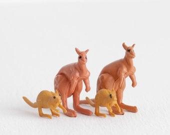 Vintage Miniature Kangaroo Family, Plastic Terrarium Figurines Accessories, Toy Kangaroo Gift
