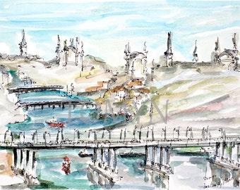 Original watercolor painting. Instambul. Pierre Loti Cafe. Views   Galata Tower and the Galata Bridge.