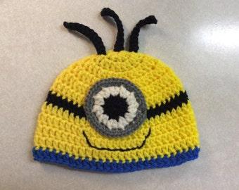 Newborn Minion Hat,  photo prop, Hand crochet, gift idea, shower gift, Halloween costume, baby's first Halloween, yellow, blue, black, white