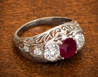Antique Ruby Engagement Ring - Estate Diamond Jewelry Collection - Edwardian Engagement Ring. Circa 1905