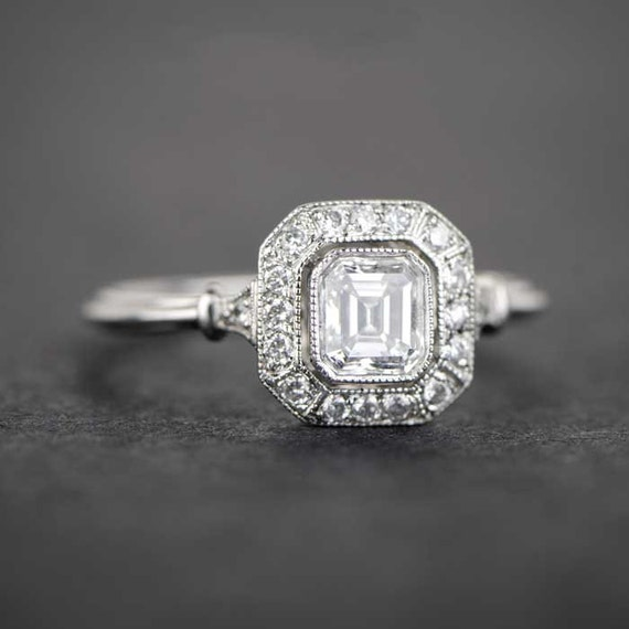 Square Emerald Cut Halo Engagement Ring