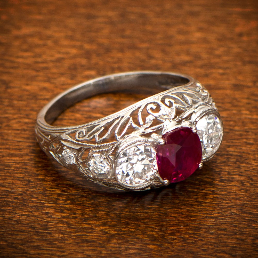 Antique Ruby Engagement Ring Estate Diamond Jewelry