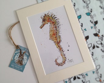 Seahorse Painting, Animal Print, Ocean Art, Wall Art, A4 Print, Fish, Colourful Paintings, Ready to Frame, Illustration, Modern, Seahorse