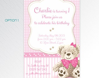 Pink Teddy Bear birtday party invitation, photo invitation, digital invitation