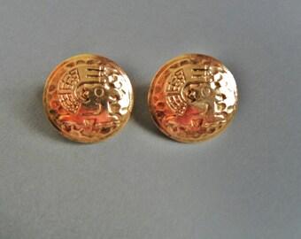 Vintage Sphinx Earrings, Allison Reed pierced earrings, Sphinx gold earrings, Allison Reed egyptian earrings, egyptian earrings